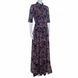 Oscar De La Renta Indigo Floral Printed Stretch Cotton Collared Maxi Dress S 219021