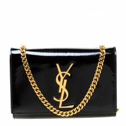 Saint Laurent Black Patent Leather Small Kate Monogram Shoulder Bag 218868
