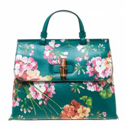 Gucci Green Blossoms Print Leather Bamboo Daily Top Handle Bag 217298