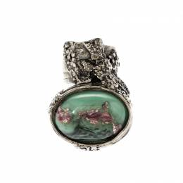 Saint Laurent Paris Arty Green Glass Cabochon Silver Tone Ring Size 49 220729