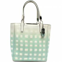 Coach White/Blue Gingham Leather Tote Bag 219347