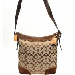 Coach Brown Signature Fabric And Suede Crossbody Bag 219348