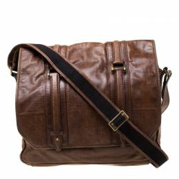 Givenchy Brown Signature Leather Messenger Bag 216998