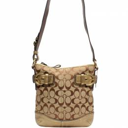Coach Brown Signature Fabric And Suede Crossbody Bag 219409