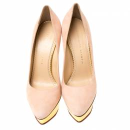 Charlotte Olympia Blush Pink Suede Dolly Platform Pumps Size 39 218690