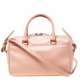 Saint Laurent Peach Leather Classic Baby Duffle Crossbody Bag 217650