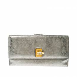 Saint Laurent Paris Grey Metallic Leather Turn Lock Flap Wallet 219961