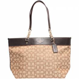 Coach Beige/Black Signature Canvas And Leather Tote Bag 219367