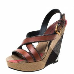 Burberry Brown Novacheck Canvas and Leather Warlow Platform Wedge Sandals Size 36.5 217665