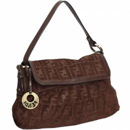 Fendi Dark Brown Zucca Suede Chef Bag 214895