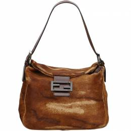 Fendi Brown Pony Hair Shoulder Bag 214744