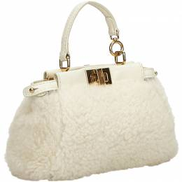Fendi White Shearling Micro Peekaboo Crossbody Bag 214740
