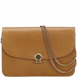 Dior Brown Leather Chain Crossbody Bag 214546