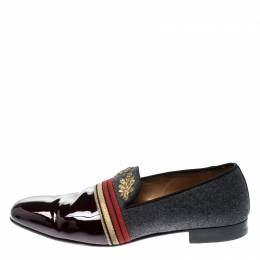 Christian Louboutin Multicolor Patent Leather and Wool Officer Loafers Size 44 215829