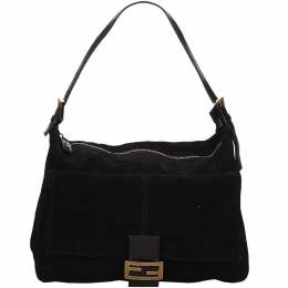Fendi Black Suede Mamma Shoulder Bag 215269