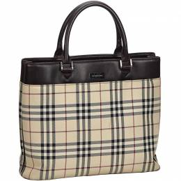 Burberry Brown/Beige House Check Canvas Tote Bag 215293