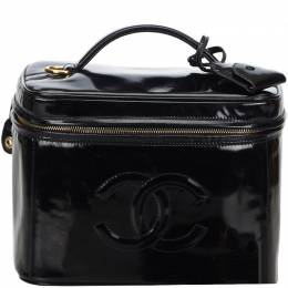 Chanel Black CC Patent Leather Vanity Cosmetic Bag 214598