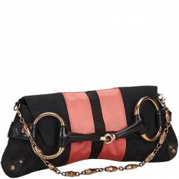 Gucci Black/Pink GG Canvas and Satin Small Limited Edition Tom Ford Horsebit Web Chain Clutch 214690