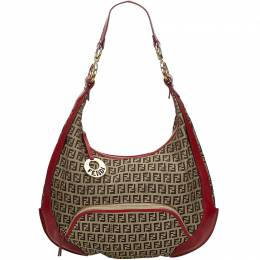 Fendi Brown/Beige Zucchino Canvas Chef Hobo Bag 209598