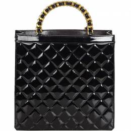 Chanel Black Quilted Patent Leather Matelasse Tote Bag 193363