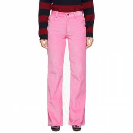 Marc Jacobs Pink Corduroy Flared Trousers 192190F08700401GB