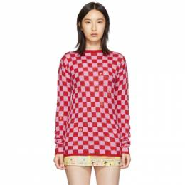 Marc Jacobs Red and Pink The Checkered Crewneck Sweater 192190F09600503GB
