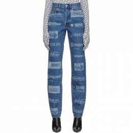 Vetements Blue Fully Branded Jeans 192669F06900104GB