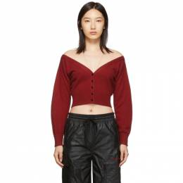 Alexander Wang Red Fitted Cropped Cardigan 192187F09500402GB