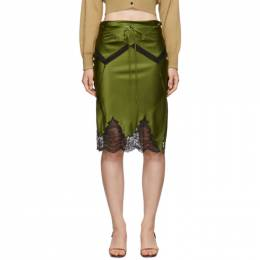 Alexander Wang Green Tie Fold Over Slip Skirt 192187F09001201GB
