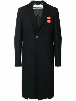 Off-White - contrast patch single-breasted coat A958F98A306659666939