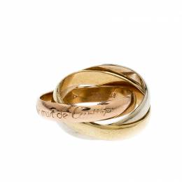 Cartier Les Must de Cartier Trinity Three Tone 18k Gold Band Ring Size 48 216965