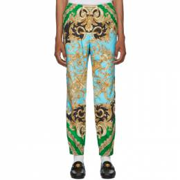 Versace Green and Blue Barocco Homme Track Pants 192404M19000801GB