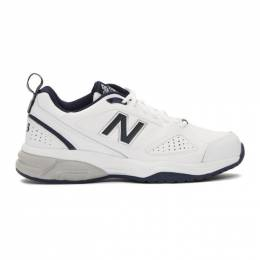 New Balance White and Navy 623v3 Sneakers 192402M23703704GB