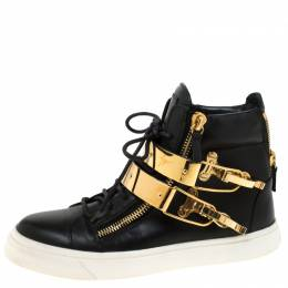 Giuseppe Zanotti Design Leather Metal Plate Ski Buckle High Top Sneakers Size 38 219866