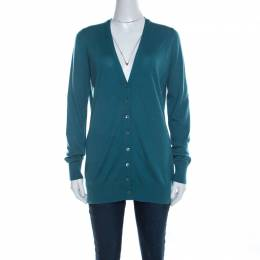 Loro Piana Jade Green Cashmere Button Front Cardigan L 219695