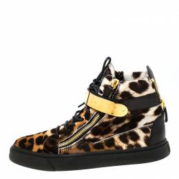 Giuseppe Zanotti Design Brown/Black Leopard Print Calf hair Lace Up High Top Sneakers Size 43 219492