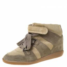 Isabel Marant Olive Green Suede Bobby Lace Up Wedge Sneakers Size 41 222090