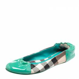 Burberry Turquoise House Check Patent Leather and PVC Cap Toe Ballet Flats Size 38.5 222046