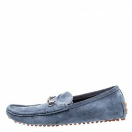 Gucci Blue Suede Horsebit Loafers Size 41.5 222054