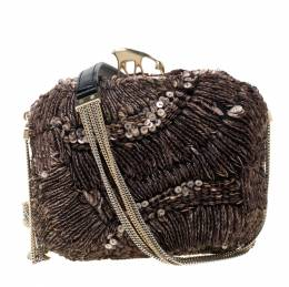Bally Brown Sequins Embellished Clutch Bag 216933