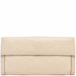 Gucci Beige Guccissima Leather Trifold Wallet 220045