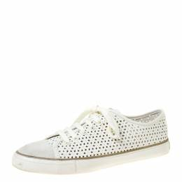 Tory Burch White Perforated Leather Daisy Lace Up Sneakers Size 40 219886