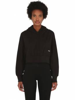 Stacked Badge Cropped Cotton Hoodie Y-3 70IG62009-QkxBQ0s1