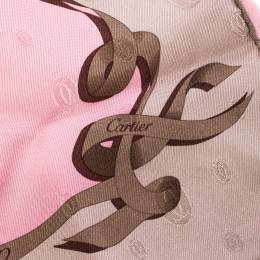 Cartier Pink Monogram Patterned Jacquard Silk Twill Square Scarf 217875