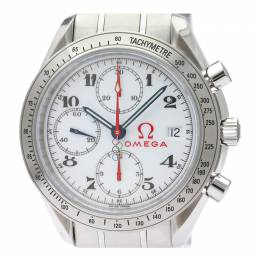 Omega White Stainless Steel Speedmaster Olympic Games Collection 323.10.40.40.04.001 Men's Wristwatch 40MM 220941