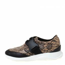 Christopher Kane Beige/Black Floral Lace Print Leather Low Top Sneakers Size 38 220846