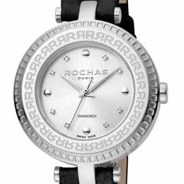 Rochas Silver Stainless Steel and Leather RP2L019L0011 Women's Wristwatch 34MM 221328