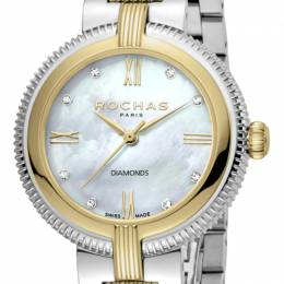 Rochas Silver Gold-Plated Stainless Steel RP2L018M0061 Women's Wristwatch 34MM 221326
