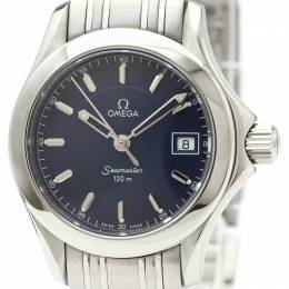 Omega Blue Stainless Steel Seamaster Jacques Mayol 2001 Limited Edition 2587.80 Women's Wristwatch 26MM 220979