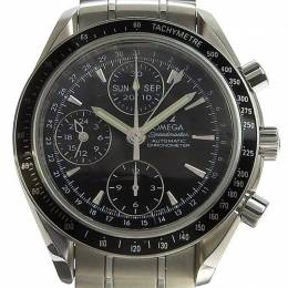 Omega Black Stainless Steel Speedmaster Date / Day-Date Chronograph 3220.5 Men's Wristwatch 40MM 220956